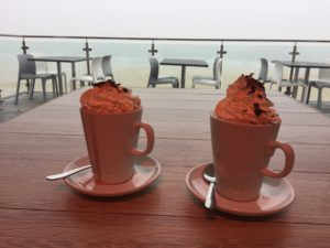 hot chocolate at porthmeor cafe